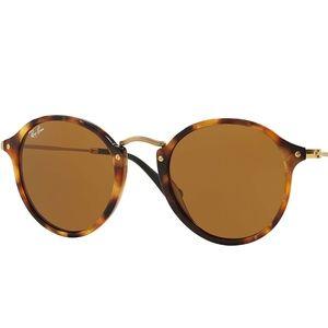 Ray-Ban Round Fleck Tortoise Sunglasses